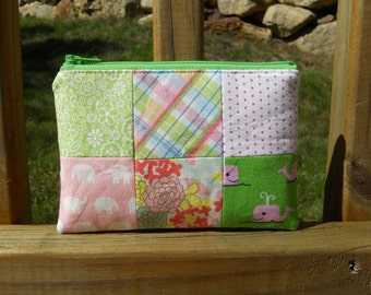 Zipper Pouch, Pink and Green Pouch, Whale Pouch, Elephant Pouch, 6-Panel Series, One of a Kind
