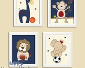 Sports nursery art, boys nursery decor, wall art for boys nursery, navy blue nursery decor, art prints, set of 4 posters,Baby illustrations