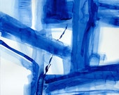 Fine art print 'Beyond the Blue Door' watercolor abstract by Victoria Kloch, blue, mid century