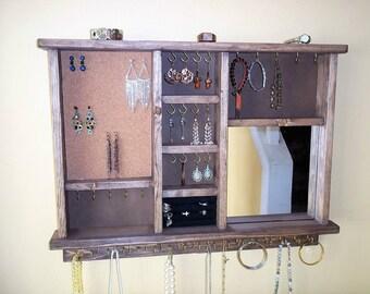 Wall Jewelry Storage with Mirror -  Jewelry Holder -  Jewelry Organizer - Jewelry Display