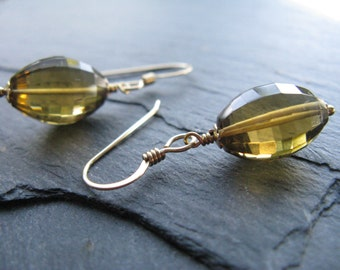 WHISKEY BARRELS - Whiskey Quartz, Faceted Gemstones, Puffed Oval Barrel, Olives, 14kt Gold Filled Earrings