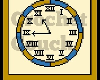 Clock Afghan C2C Graph and Written Word Chart