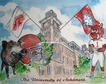 University of Arkansas Razorbacks Football signed Art Print Artwork Watercolor Painting