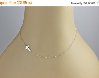 20 inch TINY Sterling Silver Sideways Cross Necklace, Horizontal Celebrity Inspired Necklace