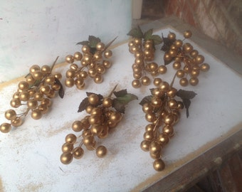 6 Large Gold Berry Stems, Christmas Crafting Supplies, Christmas Embellishments or Assemblage