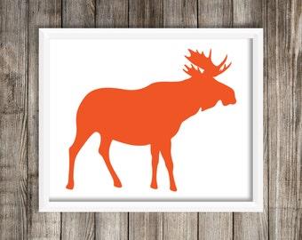 Orange Moose Silhoette 8X10 Modern Wall Art Home Decor.