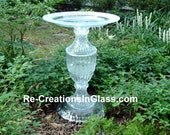 "Bird bath. Bird feeder. Classically designed garden art.  ""The Samantha"" is made with upcycled/repurposed crystal and glass."