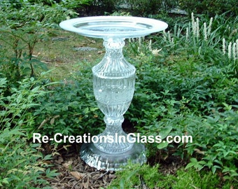 """Bird bath. Bird feeder. Classically designed garden art.  """"The Samantha"""" is made with upcycled/repurposed crystal and glass."""