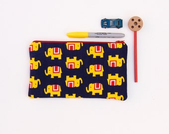 Zipper Pouch, Elephant Pencil Bag, Elephant Pencil Pouch, School Supplies Bag, Back to School College,Teens, Kids, Organizer Bag for Pencils