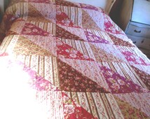 Vintage Patchwork Quilt Comforter King sz  Purple, Lavender & Brown 88 x 100""