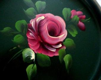 "BIG SUMMER SALE 2  Fabulous vintage Tin Tole trays 1 Green 1 Black Rose in center 7 3/4"" diam"
