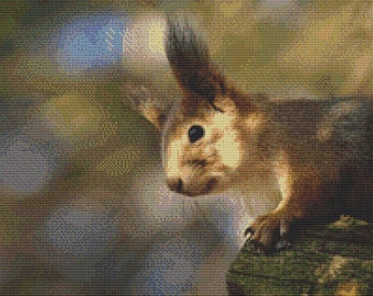 Pointy-Eared Squirrel Cross Stitch Pattern Animal Series Design Instant Download PdF