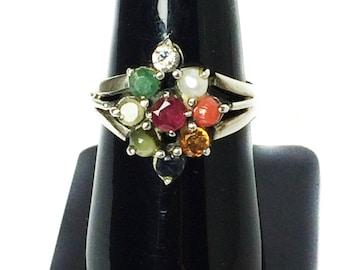 925 Sterling Silver Navratan Ring Studded Precious Nine Planet Gemstones Religious Astrology Spiritual Ring Lucky Charm