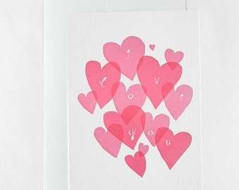 Mother's Day Letterpress card - Cluster of hearts