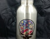 The Music Never Stopped Water Bottle 20 fl. oz. silver or white Grateful Dead
