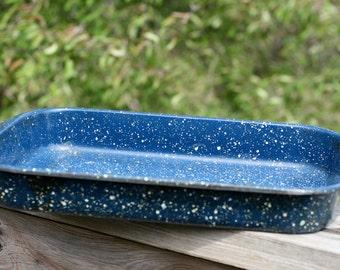 Vintage Blue Speckled Enamelware Cake Pan,  Blue speckled Metal Oblong Pan.