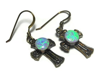 Gordon and Smith earrings, G & S 925 sterling silver cross with fire opal cabochon, small dangle french hook, 1995, on original card