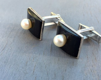 Vintage Silver Cuff Links Pearl Onyx 1950s Mens Accessories For the Groom