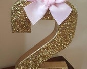 1 Age #  Gold Glitter, sparkly centerpiece party decoration, Minnie mouse