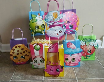8 Shopkins party favor gift bags, decoration
