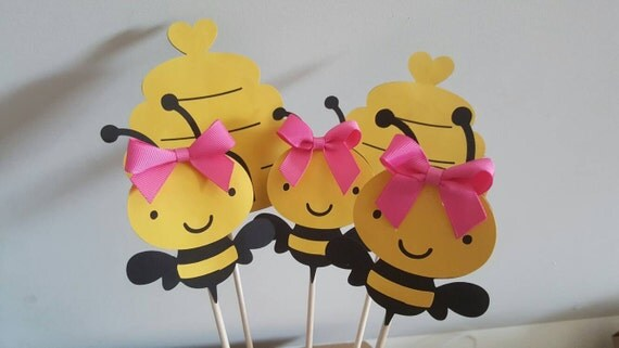 5 Bumble Bee girl centerpieces party decorations, cake toppers, baby shower