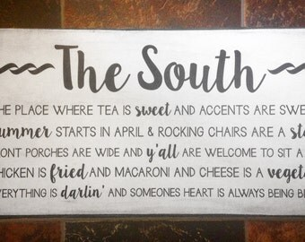 Vintage Wood  'The South' Sign