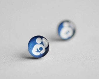 Breastfeeding symbol posts, Surgical steel studs, Nursing earring, Tiny earring studs, Maternity earrings, gift for mother