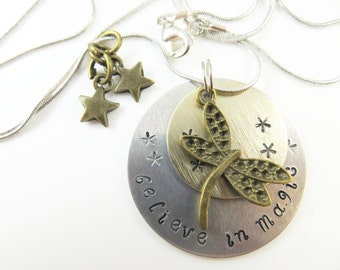 Hand stamped - believe in magic - necklace