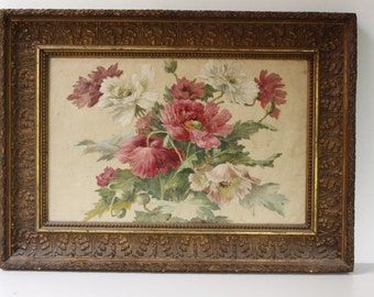 """French Art, Hand Painted Silk..26"""" x 19""""...Beautiful Frame...Beautiful Picture....signed and dated 1943"""