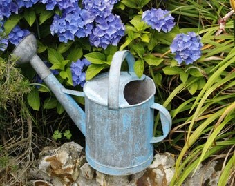 French Vintage Watering Can...Galvanised with Chippy Blue Paint....Super!