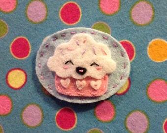 Kawaii cupcake wool Felt no slip  hair clip