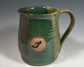 Pottery Mug -  Ceramic Coffee Cup - 16 oz - ocean green - mermaid stamp - ready to ship - ceramics - pottery - stoneware