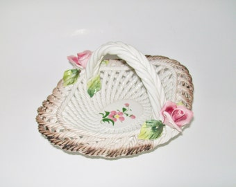 Vintage Capodimonte Candy Dish Made in Italy 1950's Basketweave Dish with Handle