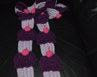 Crocheted CUPCAKE Scarf in Purples