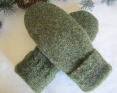Men's pure wool mittens dark olive size med. large fleece-lined Valentine gift for him RTS