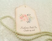 Rose Bridal Favor Tags- Floral Tea Party Favors-Rose Tags Tags-Set of 12