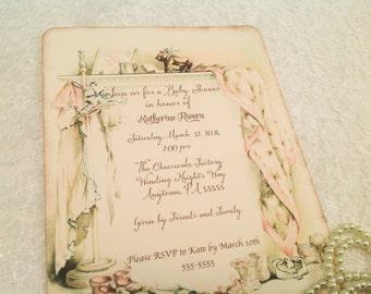 Custom Baby Shower Invitations- Vintage Heirloom inspired Invitations-Shabby Chic Baby Shower