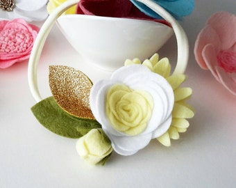 Felt Flower Crown- One Size fits All, White and Lemon Baby/ Girl Floral Crown headband, Newborn photo prop, Newborn Headband, Flower Girl.
