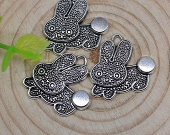 10 Rabbit Charms, Antique Silver, 20 x 18 mm, U.S Seller - ts903