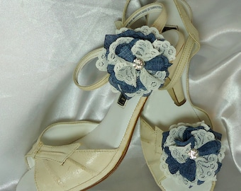 Bridal Shoe Clips, Denim Blue Shoe Clips, Flower Shoe Clips, REX16-203SC, Wedding Accessories