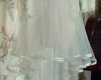 Wedding Veil, Elbow Length Veil, 27 Inch Illusion Veil, Two Layer Veil, Embellished Comb, Ribbon Edge, REX3039