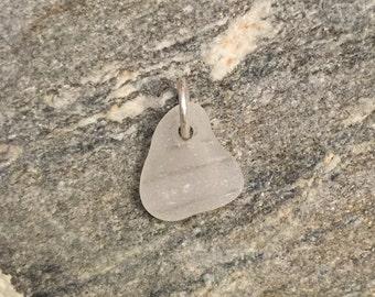 Sea glass jewelry- White sea glass charm