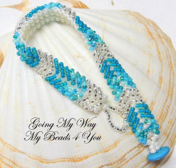 Beaded Bracelet,Seed Bead Bracelet, Turquoise Silver Beaded Bracelet,Beadwoven Bracelet,Friendship Bracelet, Pearl Bracelet, MyBeads4You