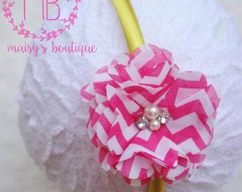 70% OFF Yellow and Hot Pink Rhinestone Flower Headband/ Wedding Headband