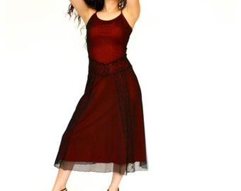 SALE 20%OFF 90's Retro Victorian Dress, Black Lace Dress, Red and Black Dress, Women's Small