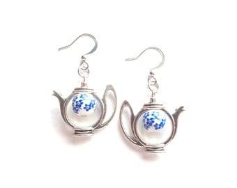 Teapot Earrings, Tea Earrings, Silver Tea Earrings, Tea Lover Gift, Teapot Jewelry, Tea Jewelry, Gift For Her, Gift Idea for Woman
