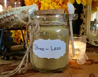 Stress Less herb blend in large glass jar with spoon 3.5 oz) Made by Lozen BrownBear/