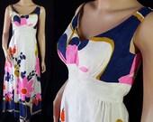 60s 70s Mod Maxi Hawaiian Flower Power Sundress Waltah Clarke's