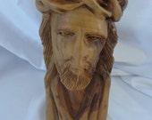 Handcarved wooden bust of Jesus, made in Bethlehem.