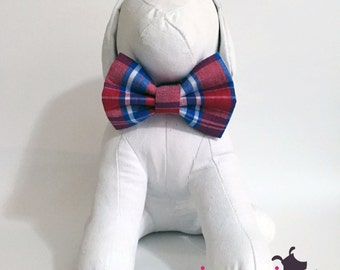 Red, Royal Blue, and White Plaid Summer Bow Tie